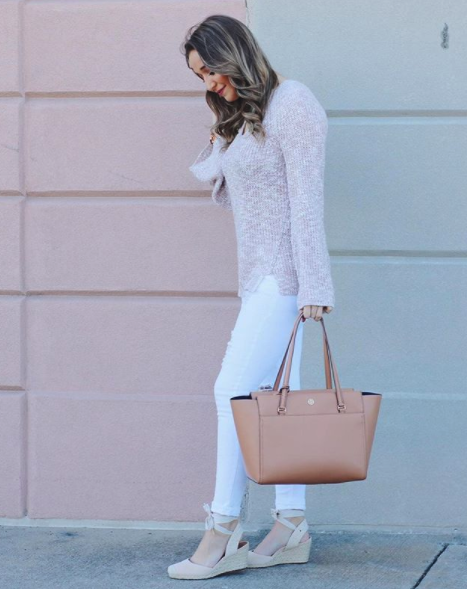 92b29822239 Blogger Danielle Spotz styled her Maris Wedge with blush and white tones for  an easy